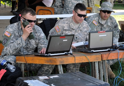 U.S. Army Capt. Lane Boland, U.S. Army Lt. Col. Alan McKewan, and U.S. Army 1st Lt. Angel Rivera, all members of the U.S. Southern Command Survey and Assessment Team (S-SAT), conduct operations in the remote village of Auka, Honduras, during Joint Task Force-Bravo's Culminating Exercise (CULEX), Dec. 3, 2013.  For the CULEX, more than 90 members of Joint Task Force-Bravo deployed to the Department of Gracias a Dios, Honduras, to conduct both real-world and exercise operations.  (U.S. Air Force photo by Capt. Zach Anderson)