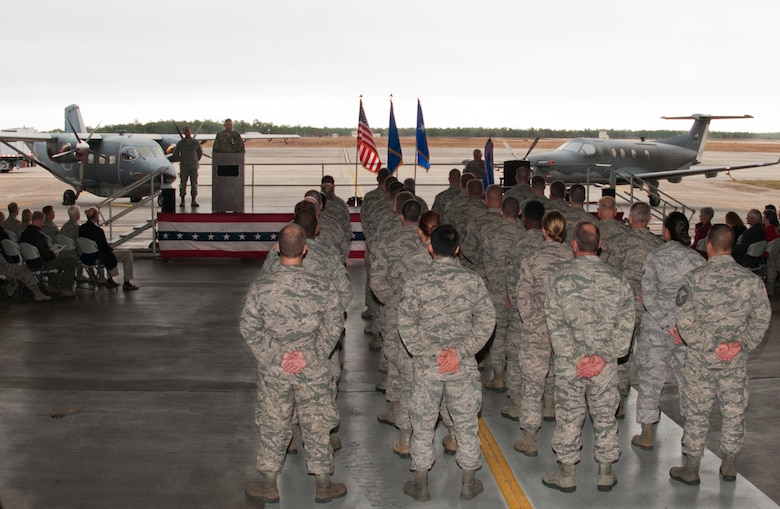 Col. James M. Phillips speaks to his wing during an assumption of command ceremony that installed him as commander of the 919th Special Operations Wing Dec.  7, at Duke Field, Fla.  Phillips is responsible for organizing, training, equipping, and maintaining the wing's special operations forces, ensuring unit readiness for worldwide deployments in support of combatant commands.  (U.S. Air Force photo/Tech. Sgt. Jasmin Taylor)