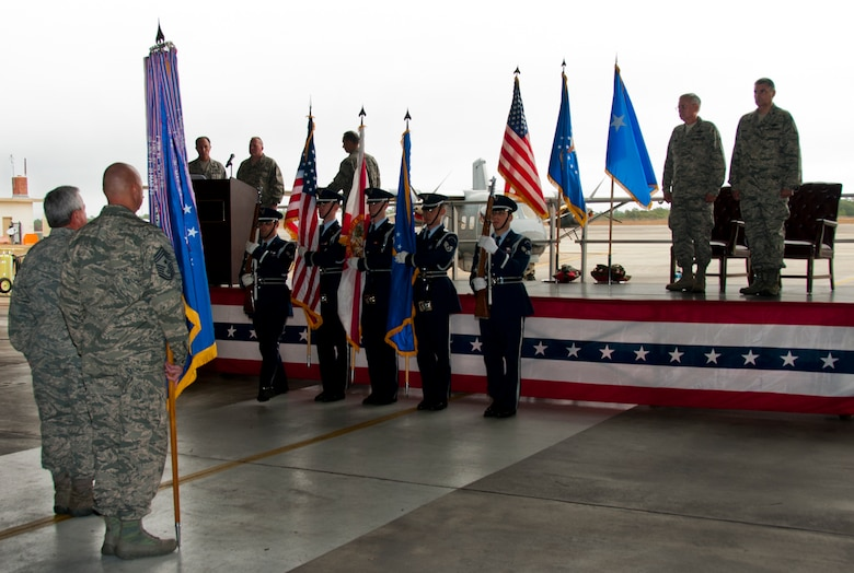 The Eglin Honor Guard presents the colors during an assumption of command ceremony at Duke Field, Fla., Dec.  7.  Col. James M. Phillips took command of the 919th Special Operations Wing during the ceremony.  (U.S. Air Force photo/Tech. Sgt. Jasmin Taylor)