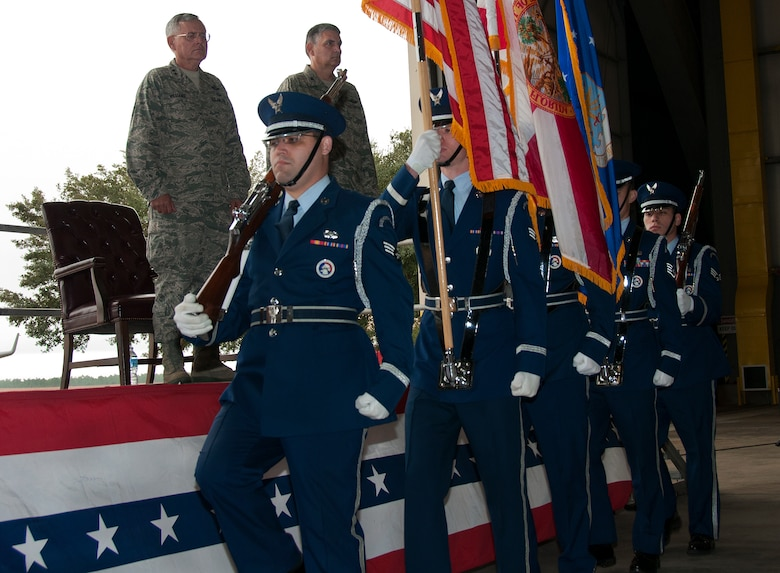 The Eglin Honor Guard brings in the colors during an assumption of command ceremony at Duke Field, Fla., Dec.  7.  Col. James M. Phillips took command of the 919th Special Operations Wing during the ceremony.  (U.S. Air Force photo/Tech. Sgt. Jasmin Taylor)