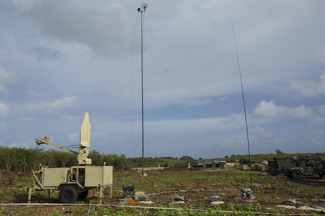 These multiple pieces of equipment are used to communicate with the various sites during Exercise Forager Fury II Dec. 2 at Tinian's North Field. FF II is a joint exercise designed to employ and assess combat power generation in a deployed and austere environment. The Marines who set up the equipment are with Marine Wing Communication Squadron 18, Marine Air Control Group 18, 1st Marine Aircraft Wing, III Marine Expeditionary Force.