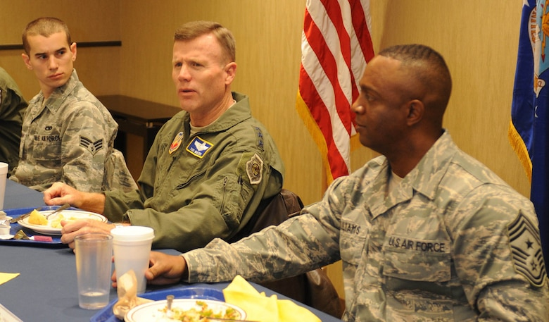 Lt. Gen. Tod D. Wolters, 12th Air Force (Air Forces Southern) commander, visits with Airmen in the Raider Café at Ellsworth Air Force Base, S.D., Dec. 4, 2013. Wolters touched on a variety of issues impacting Airmen and also toured several facilities including the 432nd Attack Squadron headquarters and 28th Logistics Readiness Squadron Deployment Center. (U.S. Air Force photo by Airman 1st Class Rebecca Imwalle/Released)
