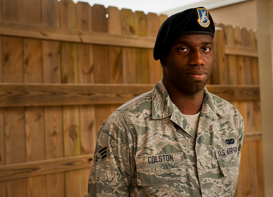Senior Airman Alvon Colston, of the 919th Special Operations Security Forces Squadron, recently helped save the life of an individual who'd been in a serious car wreck on Hwy. 98 near Gulf Breeze, Fla.  Colston helped secure the scene and keep the individual conscious and gather important information for first responders.  (U.S. Air Force photo/Tech. Sgt. Sam King)