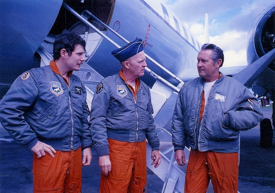 Oregon Air Guardsmen stand by the Oregon Air National Guard Convair C-131 transport in the 1970's.  Left to right are Major Bill Beveridge Co-Pilot, Brig. Gen. Patrick O'Grady, Pilot, and Senior Master Sergeant Ken Powers, Flight Engineer. (Photography courtesy of Gene Thomas)