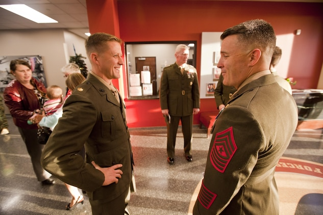 Maj. Robb McDonald, air officer with 1st Marine Special Operations Battalion, from Yuma, Ariz., speaks to members of the official party before receiving the Silver Star for his efforts against an enemy attack aboard Camp Bastion, Afghanistan in 2012. Lt. Gen. John A. Toolan, commanding general of I Marine Expeditionary Force pinned the nation's third highest award on McDonald aboard Camp Pendleton, Calif., Dec. 9.