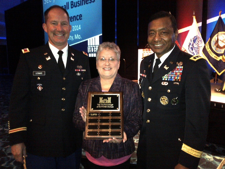 Col. Luke Leonard, Louisville District commander, Jacque Gee, Louisville District deputy for small business, and Lt. Gen. Thomas Bostick, U.S. Army Corps of Engineers commander, attended the SAME Small Business Conference in November 2013.