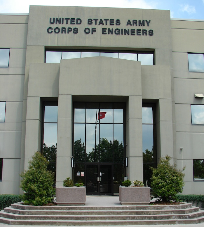 "The main entrance at the U.S. Army Engineering and Support Center building on University Square in Huntsville, Ala. In 1995, the Corps redesignated Huntsville Division, calling it the ""U.S. Army Engineering and Support Center."" That same