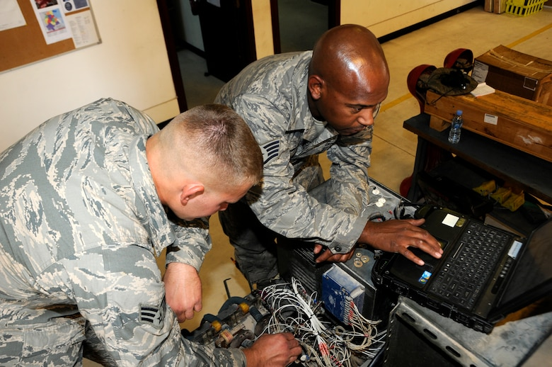 Senior Airman Michael Haig rewires a generator as Staff Sgt. Cornell Martin reads off a technical order at the 379th Air Expeditionary Wing in Southwest Asia, Dec. 9, 2013. Haig a Constableville, N.Y. native and Martin an El Paso, Texas, native, are 379th Expeditionary Maintenance Squadron Aerospace Ground Equipment specialists deployed from Dyess, Air Force Base, Texas. (U.S. Air Force photo/Senior Airman Hannah Landeros)