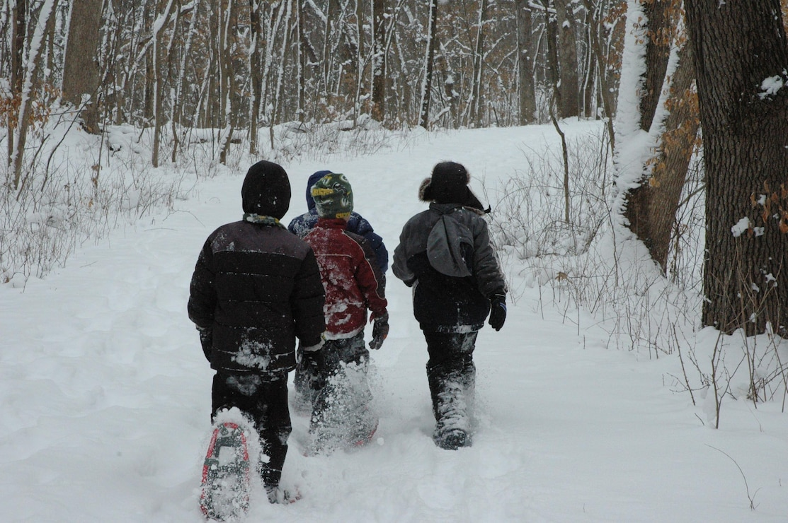 Snowshoeing is a popular hike activity in the winter months at Lake Red Rock