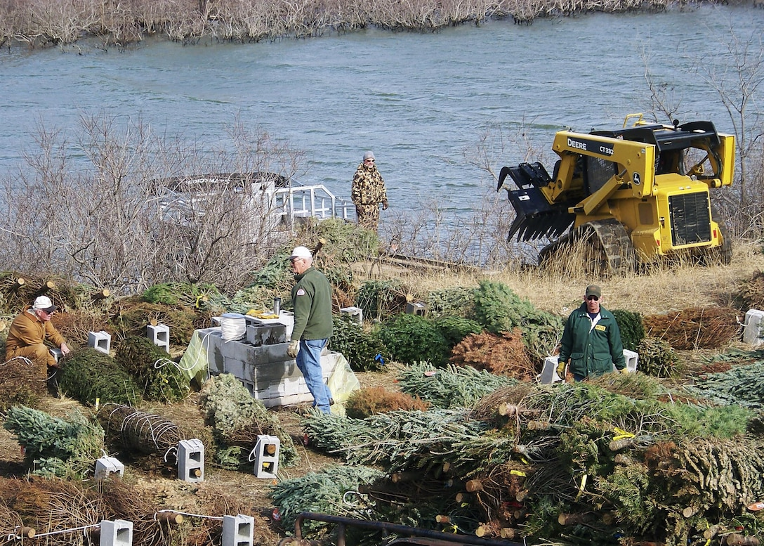 The Corps will use donated trees to create fish habitat in the lake by placing fish shelters made of bundles of Christmas trees.