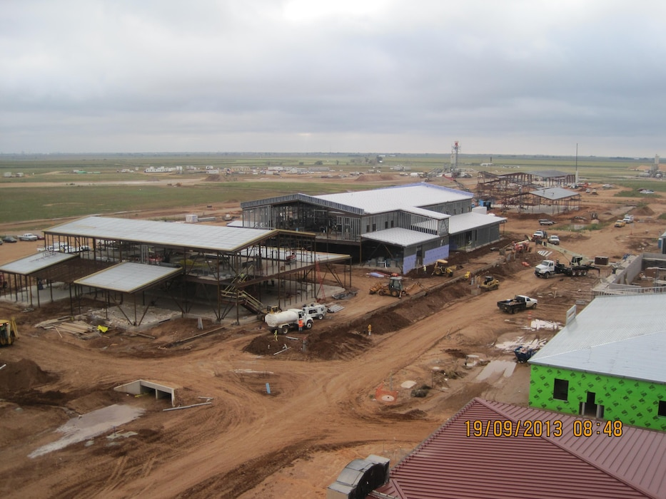 """The Consolidated Squadron Operations Construction Project at Cannon AFB. Two facilities involved in one contract designed and administered by the Engineering and Construction Division of the Albuquerque District.""  Photo by James Vigil, Sept. 19, 2013."
