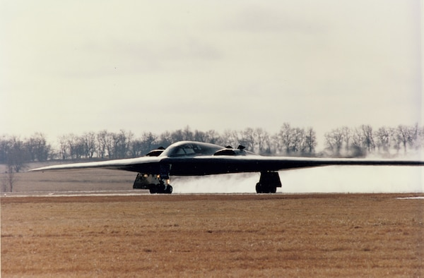 The Spirit of Missouri taxis down the Whiteman flightline for the first time upon its arrive here, Dec. 17, 1993. Whiteman has been home to the B-2 base for 20 years. (U.S. Air Force photo)