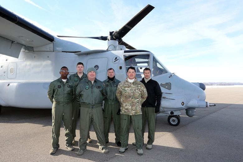 DAYTON, Ohio -- Crewmembers from the CV-22's final flight to the National Museum of the U.S. Air Force on Dec. 12, 2013. (U.S. Air Force photo by Don Popp)