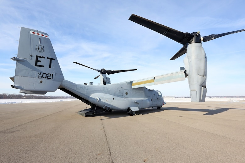DAYTON, Ohio -- The Bell-Boeing CV-22B Osprey landed at the National Museum of the U.S. Air Force on Dec. 12, 2013. (U.S. Air Force photo by Don Popp)