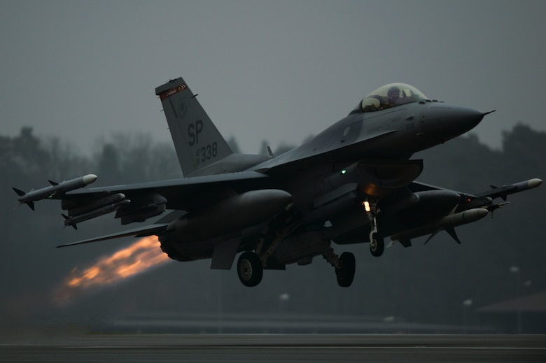 An F-16 Fighting Falcon takes off Dec. 4, 2013, from the runway at Spangdahlem Air Base, Germany. The F-16 is a compact, highly-maneuverable, multirole fighter. The very first operational F-16A was delivered to the 388th Tactical Fighter Wing at Hill Air Force Base, Utah, in early 1979. (U.S. Air Force photo/Senior Airman Rusty Frank)