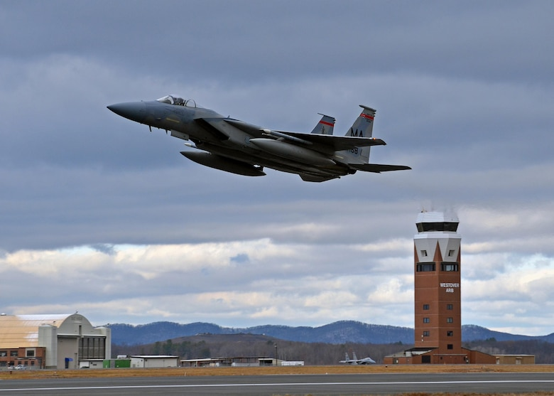 An F-15 Eagle assigned to Barnes Air National Guard Base, Westfield, Mass., takes off Dec. 7, 2013, from Westover Air Reserve Base at Chicopee, Mass., heading toward an annual exercise in Florida. The jets flew training missions out of Westover ARB for approximately six months while the runway at Barnes Municipal Airport was undergoing several months of repairs. The F-15 is an extremely maneuverable, all-weather tactical fighter designed to permit the Air Force gain and maintain air superiority. (U.S. Air Force photo/Staff Sgt. Kelly Goonan)