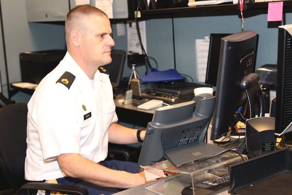 Staff Sgt. James Harris, a military policeman with the California National Guard, currently serves as a security coordinator at the District's security and law enforcement office in downtown Los Angeles.  Harris sustained injuries while serving as a MP platoon sergeant in Northern Afghanistan in 2012 and is participating in the Federal Internship Program, which affords him an opportunity to put his experience to work while providing him with the flexibility to complete medical treatment for his combat injuries.