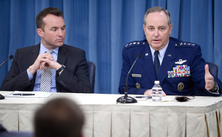 """Acting Secretary of the Air Force Eric T. Fanning and Air Force Chief of Staff Gen. Mark A. Welsh III present the """"State of the Air Force,"""" during a Pentagon press briefing Dec. 13, 2013.  During the briefing, Fanning and Welsh addressed current Air Force challenges, to include sequestration's impacts to readiness, modernization and force structure, and their efforts to plan for a credible capable force over the next 10 years.  (U.S. Air Force photo/Scott M. Ash)"""