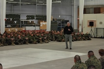 United States Marine Corps Lieutenant Colonel (Ret) Oliver L. North speaks to the students of Fort Leonard Wood.