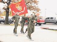 Marines carry their unit colors 238 miles to celebrate the Corps birthday on Nov. 10.