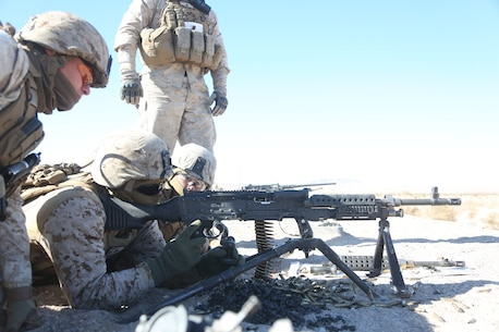 Marines with Motor Transportation Company, Combat Logistics Battalion 5, Combat Logistics Regiment 1, 1st Marine Logistics Group, operate an M240B medium machine gun as part of sustainment training leading up to Exercise Steel Knight 2014 aboard Marine Air Ground Combat Center Twentynine Palms, Calif., Dec. 9, 2013. SK14 is an annual exercise designed to prepare 1st Marine Division for deployment with the Marine Air-Ground Task Force as the Ground Combat Element with the support of 1st MLG and 3rd Marine Air Wing. Combined, the MAGTF is able to deploy and respond in a timely manner to any situation across the globe.  (U.S. Marine Corps photo by Lance Cpl. Shaltiel Dominguez/ Released)