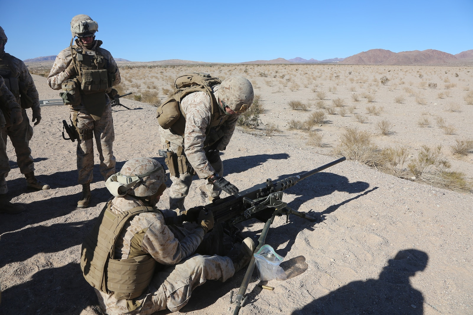 Marines with Motor Transportation Company, Combat Logistics Battalion 5, Combat Logistics Regiment 1, 1st Marine Logistics Group, operate a .50 caliber machine gun as part of sustainment training leading up to Exercise Steel Knight 2014 aboard Marine Air Ground Combat Center Twentynine Palms, Calif., Dec. 9, 2013. SK14 is an annual exercise designed to prepare 1st Marine Division for deployment with the Marine Air-Ground Task Force as the Ground Combat Element with the support of 1st MLG and 3rd Marine Air Wing. Combined, the MAGTF is able to deploy and respond in a timely manner to any situation across the globe.