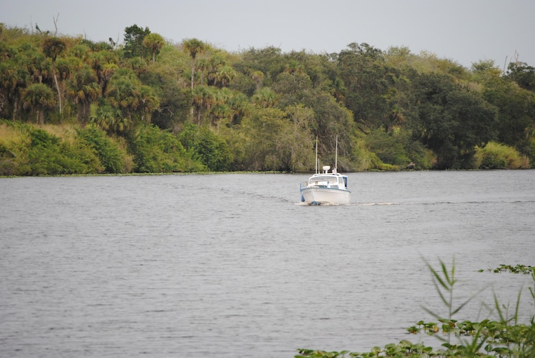 A boater approaches LaBelle on the Caloosahatchee River, part of the Okeechobee Waterway in south Florida. Jacksonville District is educating boaters on its anchoring policy to improve safety and reduce the risk of an accident on the 152-mile long waterway connecting Stuart and Fort Myers.