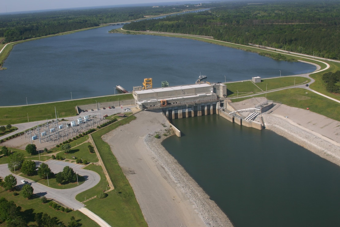 An aerial shot of the Cooper River Rediversion Project, looking west toward Lake Moultrie.  The intake canal is above the dam.