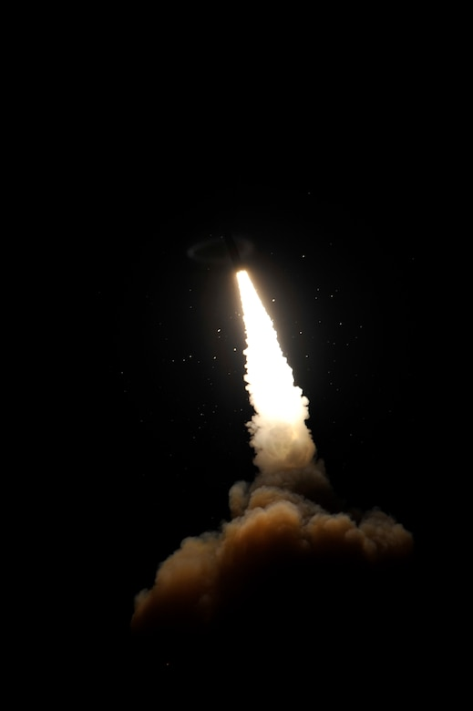 An unarmed Minuteman III intercontinental ballistic missile was launched during an operational test Dec. 17 at 4:36 a.m. from Vandenberg Air Force Base, Calif. Col. Keith Balts, the 30th Space Wing commander, was the launch decision authority. (U.S. Air Force photo/Airman 1st Class Yvonne Morales)