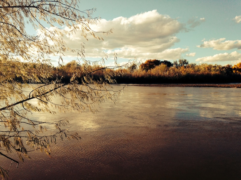 ALBUQUERQUE, N.M., -- The Rio Grande flows through the Bosque near Alameda Bridge, Nov. 3, 2013.