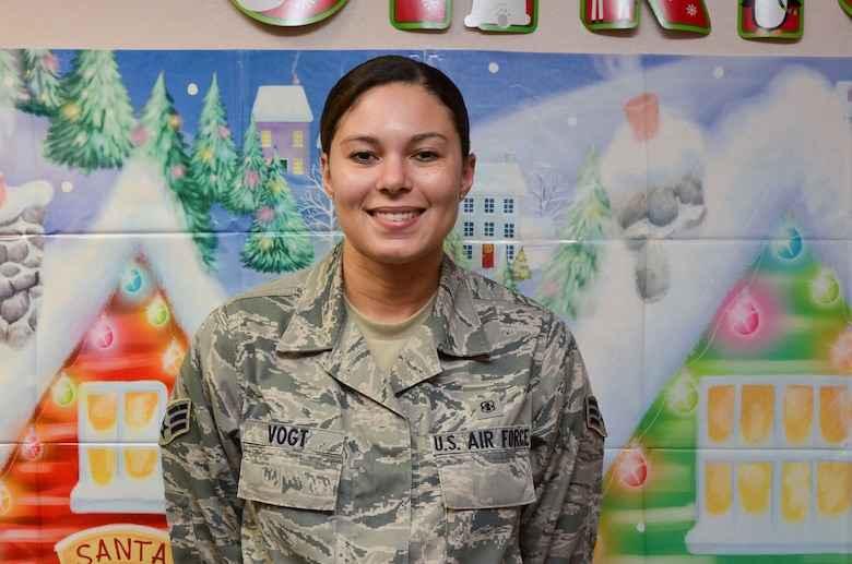 """Senior Airman Alana Vogt, 12th Air Force (Air Forces Southern) surgeon general's office, """"I am thankful for my friends and family. I'm also grateful for the opportunities the Air Force has bestowed and continues to bestow upon me."""" (U.S. Air Force photo by Staff Sgt. Adam Grant/Released)"""