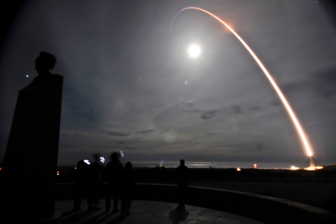 VANDENBERG AIR FORCE BASE, Calif. – An unarmed Minuteman III intercontinental ballistic missile was launched during an operational test at 4:36 a.m. here Tuesday from Launch Facility-04 on north Vandenberg. Col. Brent McArthur, 30th Space Wing vice commander, was the launch decision authority. (U.S. Air Force photo by Airman 1st Class Yvonne Morales/Released)