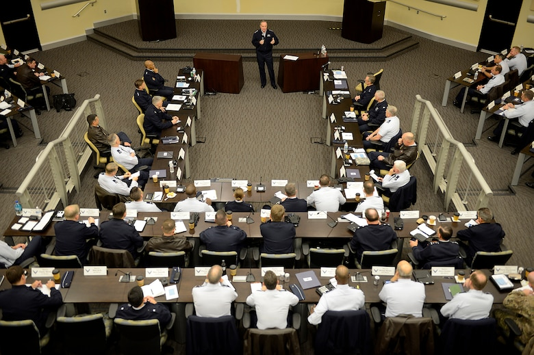 Air Force Chief of Staff Gen. Mark A. Welsh III talks with wing commanders from around the Air Force, Air National Guard and Air Force Reserve wings during the Sexual Assault Prevention summit he hosted at Joint Base Andrews, Md., Dec. 12, 2013.  Wing commanders, command chiefs and sexual assault response coordinators from across the Air Force attended the two-day event, which included discussion from senior leaders, sexual assault victims and industry experts.