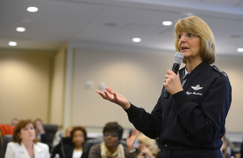 Maj. Gen. Margaret H. Woodward, director of the Air Force Sexual Assault Prevention and Response office, talks with sexual assault response coordinators during the SAPR summit, hosted by Air Force Chief of Staff Gen. Mark A. Welsh III, at Joint Base Andrews, Md., Dec. 12, 2013.  Wing commanders, command chiefs and sexual assault response coordinators from across the Air Force attended the two-day event, which included discussion from senior leaders, sexual assault victims and industry experts.