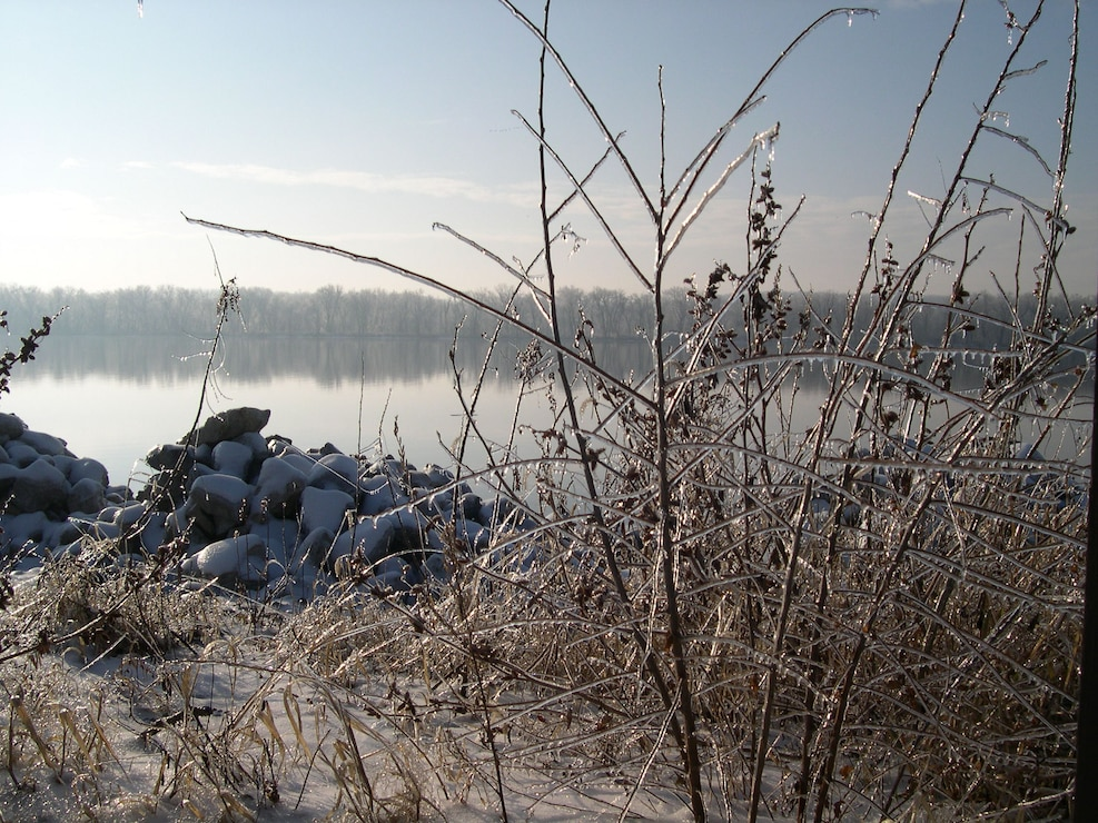 Ice along the banks of the Mississippi River at Clark's Ferry Recreation Area.