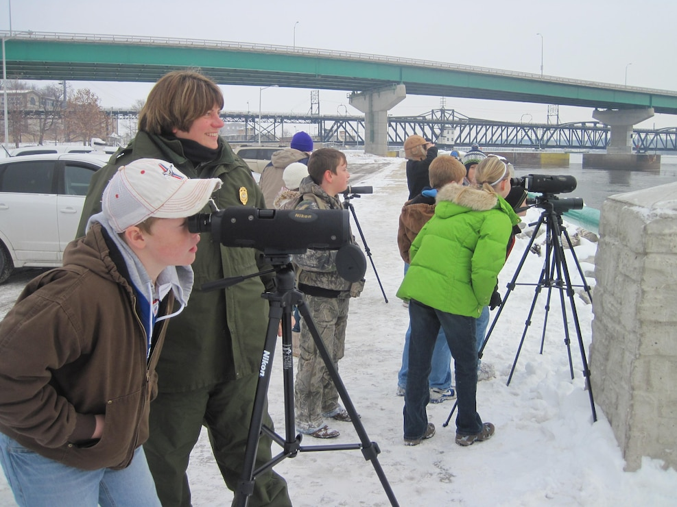 Eagle watching on the Mississippi River for the annual Keokuk Eagle Watch event.