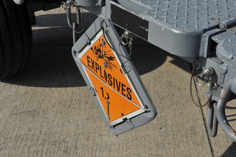 A munitions trailer displays an explosives sign on Hurlburt Field, Fla., Dec. 6, 2013. The sign is displayed to warn personnel of its explosive contents. (U.S. Air Force photo/Staff Sgt. John Bainter