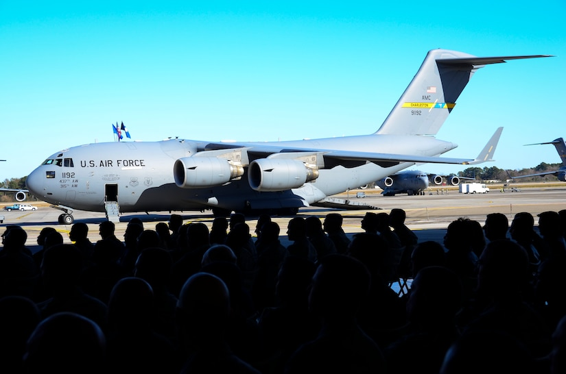 """The 437th Airlift Wing held a ceremony for Aircraft 9192, December 18, 2013 at Joint Base Charleston – Air Base, S.C. The aircraft, nicknamed the """"Spirit of Charleston"""" was the first C-17 in the U.S. Air Force's inventory and has flown missions throughout the world for more than two decades. Those missions have totaled more than 20,000 flight hours. (U.S. Air Force photo/Staff Sgt. Anthony Hyatt)"""
