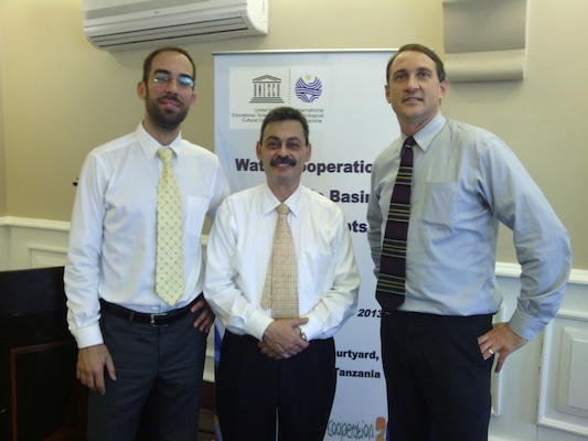 "International Center for Integrated Water Resources Management (ICIWaRM), under the auspices of UNESCO, team at the ""Water Cooperation in the Nile Basin–from Concepts to Action"" workshop.  Pictured left to right: Dr. Aleix Serrat Capdevila, Research Professor at ICIWaRM partner University of Arizona; Dr. Bisher Iman, Deputy Secretary of UNESCO's International Hydrological Programme; Dr. Hal Cardwell, Director Conflict Resolution and Public Participation Center of Expertise at the USACE Institute for Water Resources."