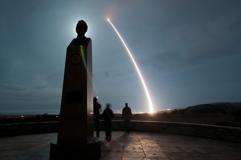 An unarmed Minuteman III intercontinental ballistic missile was launched at 4:36 a.m. during an operational test Dec. 17, 2013, from Vandenberg Air Force Base, Calif. The 30th Space Wing manages Department of Defense space and missile testing, and placing satellites into polar orbit from the West Coast, using expendable boosters. Col. Keith Balts, the 30th Space Wing commander, was the launch decision authority. (U.S. Air Force photo/Airman 1st Class Yvonne Morales)