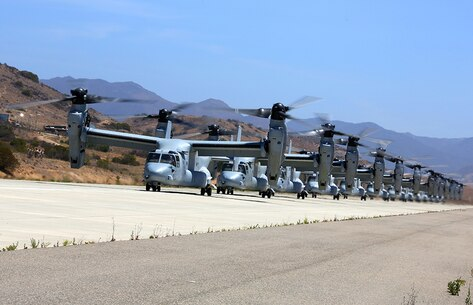 MV-22B Ospreys with Marine Medium Tiltrotor Squadron 163, 3rd Marine Aircraft Wing wait, to take off to take a battalion of Marines to 29 Palms during Dawn Blitz 2013, June 21. Dawn Blitz demonstrates the unique capabilities of the Marine Corps and Navy to rapidly respond to contingencies in coordination with our coalition partners.