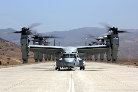 MV-22B Ospreys with 3rd Marine Aircraft Wing wait to take off to take a battalion of Marines to 29 Palms during Dawn Blitz 2013, June 21. Exercises like Dawn Blitz 2013 provide realistic relevant training necessary for effective global crisis response expected of the Navy and Marine Corps.