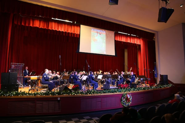 The Air Force Band of the West plays a variety of holiday songs Dec. 17 at the Joint Base San Antonio-Lackland Bob Hope Theater. (U.S. Air Force photo by Airman 1st Class Lincoln Korver)