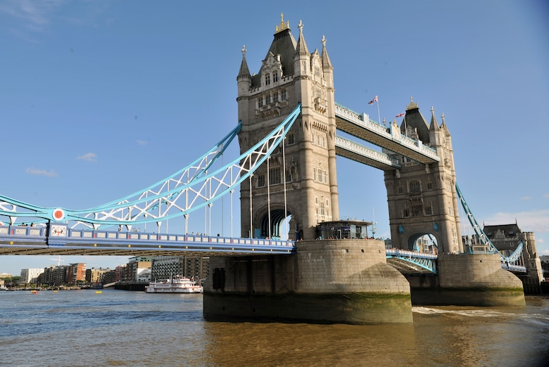 "Often mistakenly referred to as ""the London Bridge,"" this iconic structure is located adjacent to the Tower of London, hence its name - the Tower Bridge.  The bridge has a bascule design, meaning one of its sections (in this case, the center) can be raised and lowered, allowing large boats and other water vehicles to travel through.  (Courtesy Photo by Airman 1st Class Kyla Gifford/Released)"