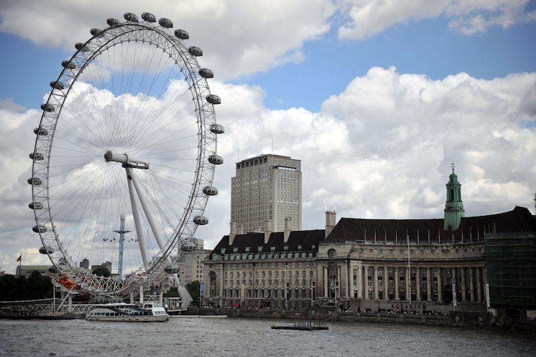 The London Eye is a gigantic Ferris wheel located on the south bank of the River Thames in London. Standing at 443 feet tall and with a diameter of 394 feet, it is the tallest Ferris wheel in Europe. (Courtesy Photo by Airman 1st Class Kyla Gifford/Released)