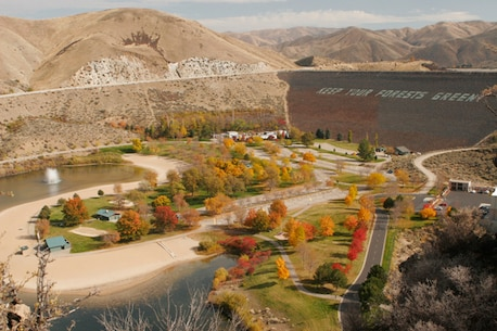 A fall scene looking upon Lucky Peak Dam and Lucky Peak State Park's Sandy Point Unit.
