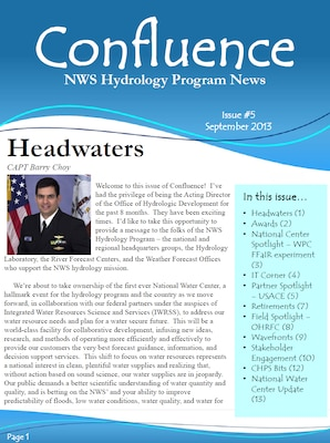 Cover of the September 2013 issue of Confluence, the National Weather Service Hydrology Program News.