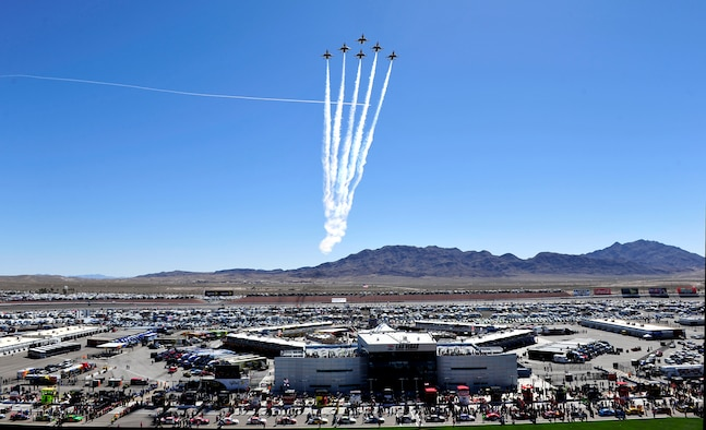 The U.S. Air Force Thunderbirds fly the six-ship Delta formation March 10, 2013, over the Las Vegas Motor Speedway before the Kobalt Tools 400. (U.S. Air Force photo/Tech. Sgt. Manuel J. Martinez)