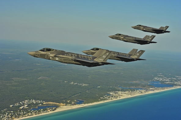 F-35A Lightning II Joint Strike Fighters from the 58th Fighter Squadron, 33rd Fighter Wing, Eglin AFB, Fla. perform an aerial refueling mission May 14, 2013, off the coast of Northwest Florida with a KC-135 Stratotanker from the 336th Air Refueling Squadron from March Air Reserve Base, Calif. The 33rd Fighter Wing is a joint graduate flying and maintenance training wing that trains Air Force, Marine, Navy and international partner operators and maintainers of the F-35 Lightning II. (U.S. Air Force photo/Master Sgt. Donald R. Allen)