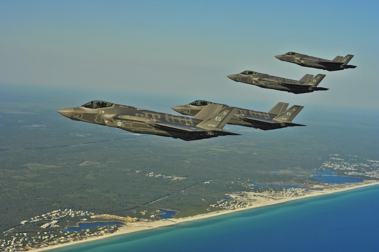 F-35A Lightning IIs from the 58th Fighter Squadron, 33rd Fighter Wing, Eglin AFB, Fla., perform an aerial refueling mission May 14, 2013, off the coast of northwest Florida. The 33rd Fighter Wing is a joint graduate flying and maintenance training wing that trains Air Force, Marine, Navy and international partner operators and maintainers of the F-35 Lightning II. (U.S. Air Force photo/Master Sgt. Donald R. Allen)